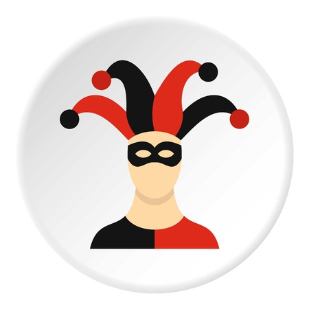 Jester with cap icon circle Illustration