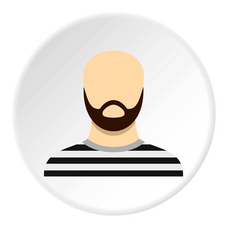 Prisoner with a beard icon in flat circle isolated vector illustration for web Illustration