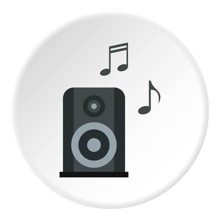 Portable music speacker icon circle Illustration