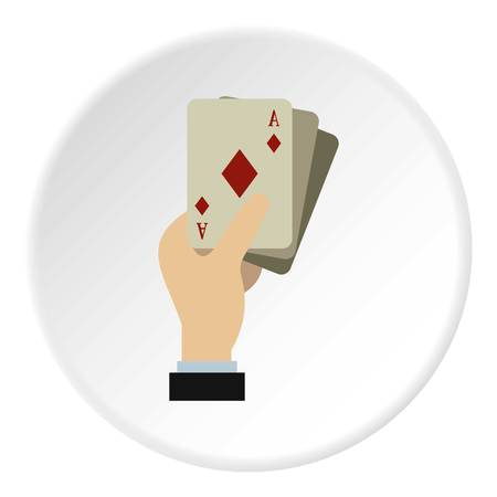 hazard sign: Hand holding playing cards icon circle Illustration