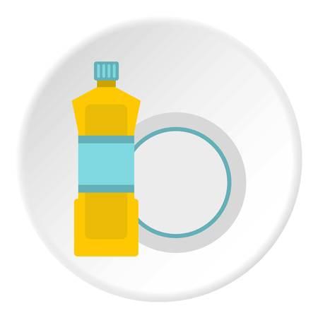 dishwashing liquid: Bottle for dishwashing icon in flat circle isolated vector illustration for web