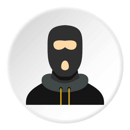 Masked robber icon in flat circle isolated vector illustration for web