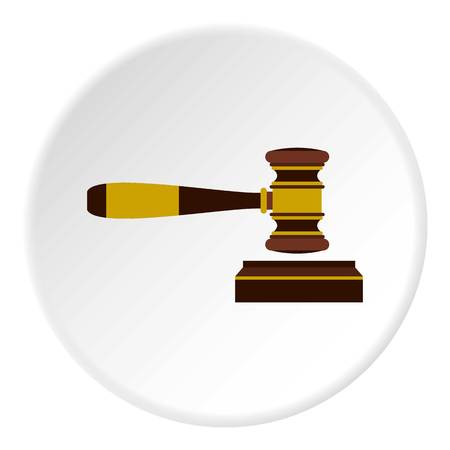supreme court: Judges gavel icon in flat circle isolated vector illustration for web