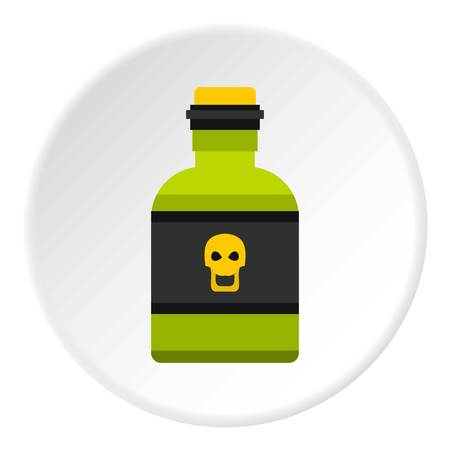Bottle of poison icon in flat circle isolated vector illustration for web