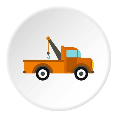 the wrecker: Car tow truck icon in flat circle isolated vector illustration for web Illustration