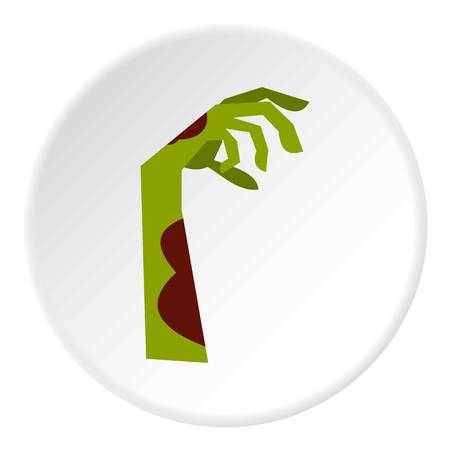 Zombie hand icon in flat circle isolated vector illustration for web