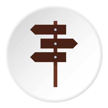 guidepost: Road sign icon in flat circle isolated vector illustration for web Illustration