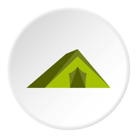 Tourist tent icon in flat circle isolated vector illustration for web