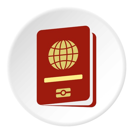 documentation: Passport icon in flat circle isolated vector illustration for web Illustration