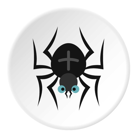 Spider icon in flat circle isolated vector illustration for web