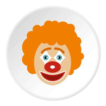 Clown face icon in flat circle isolated vector illustration for web Illustration