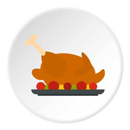 fried: Fried chicken with tomatoes icon in flat circle isolated vector illustration for web Illustration
