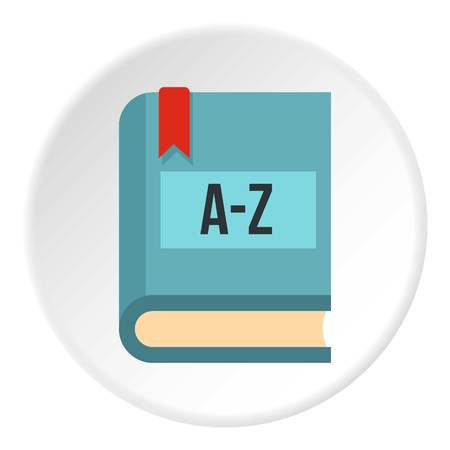 decode: Foreign language dictionary icon in flat circle isolated vector illustration for web