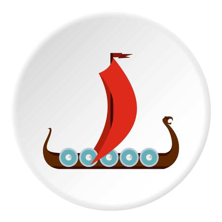 Medieval boat icon circle Illustration