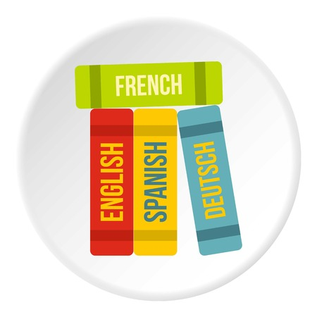 decode: Books of foreign languages icon circle Illustration