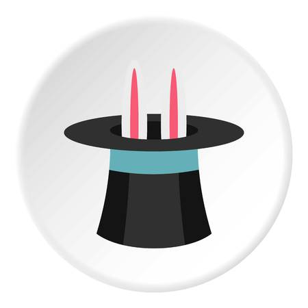 domesticated: Rabbit in hat magician icon circle Illustration