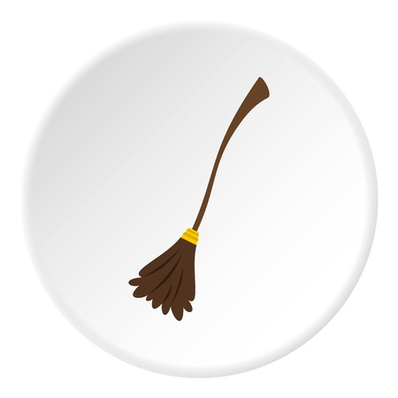 Witch broom icon circle