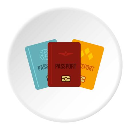 documentation: Passports icon in flat circle isolated vector illustration for web