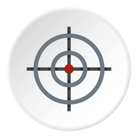 Target icon in flat circle isolated vector illustration for web