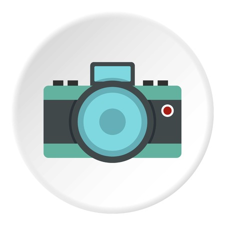 Photocamera icon in flat circle isolated vector illustration for web Illustration
