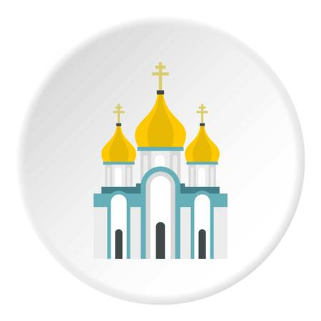 monasteri: Orthodox church icon in flat circle isolated vector illustration for web Vettoriali