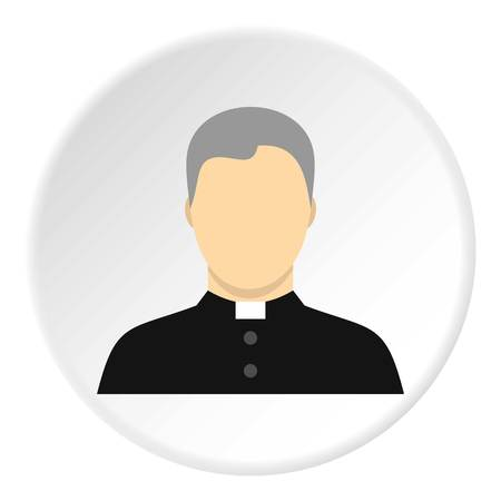 Catholic priest icon in flat circle isolated vector illustration for web