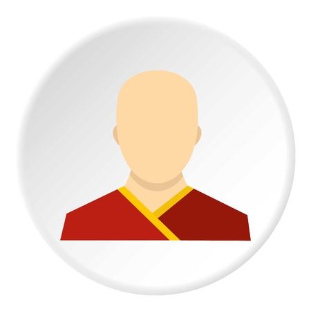 Buddhist monk icon in flat circle isolated vector illustration for web Illustration
