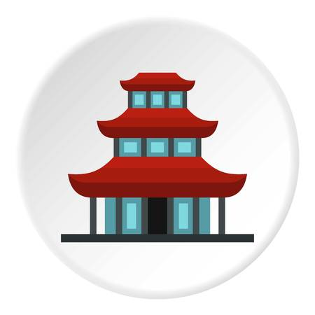 Buddhist temple icon in flat circle isolated vector illustration for web