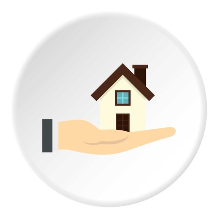 House in hand icon in flat circle isolated vector illustration for web Illustration