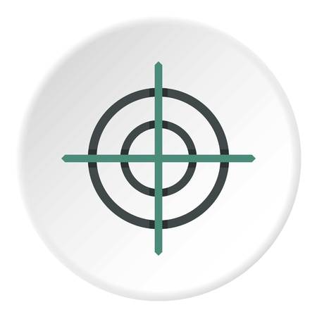 Crosshair icon in flat circle isolated vector illustration for web Vectores