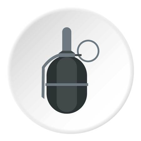 chemical weapon symbol: Hand paintball grenade icon in flat circle isolated vector illustration for web