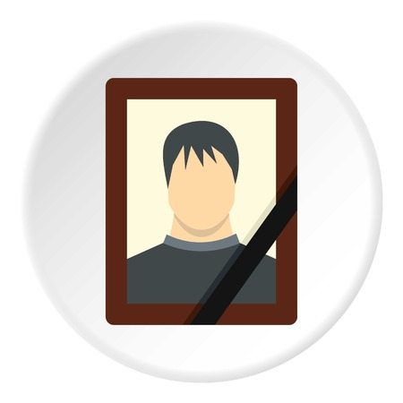 inheritance: Memory portrait icon in flat circle isolated vector illustration for web