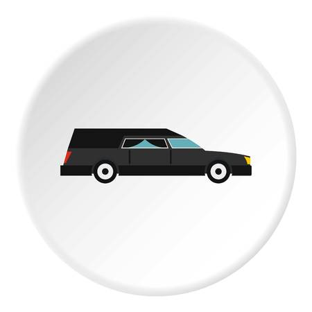 Hearse icon in flat circle isolated vector illustration for web