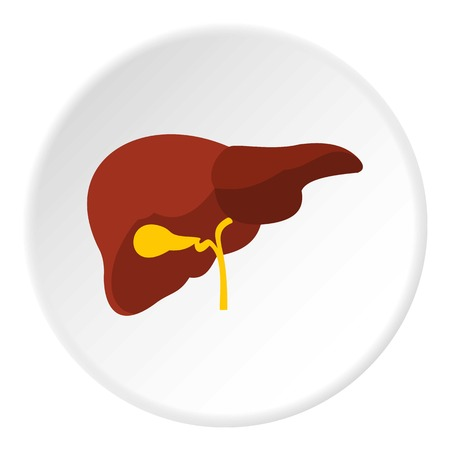 Liver icon in flat circle isolated vector illustration for web Illustration