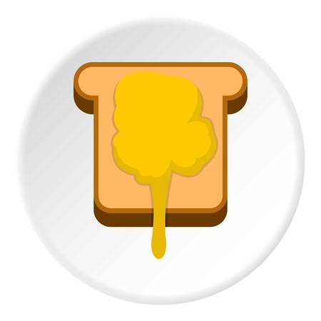 confiture: Toast with honey icon in flat circle isolated vector illustration for web