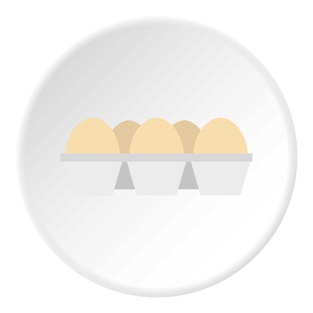 Eggs in carton package icon circle Illustration