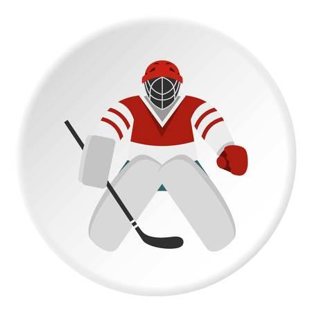 Hockey goalkeeper icon circle