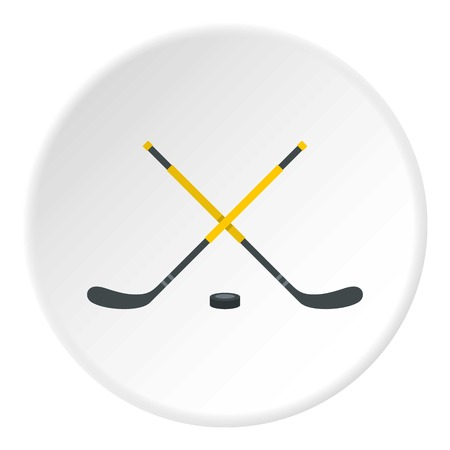 puck: Sticks and puck icon circle Illustration