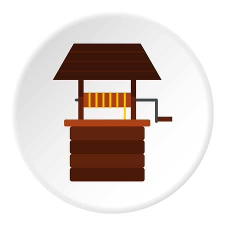 thirsty: Water well icon circle
