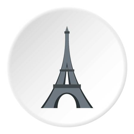 Eiffel tower icon in flat circle isolated vector illustration for web