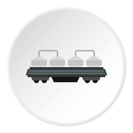 diesel train: Rail wagon for construction materials icon in flat circle isolated vector illustration for web