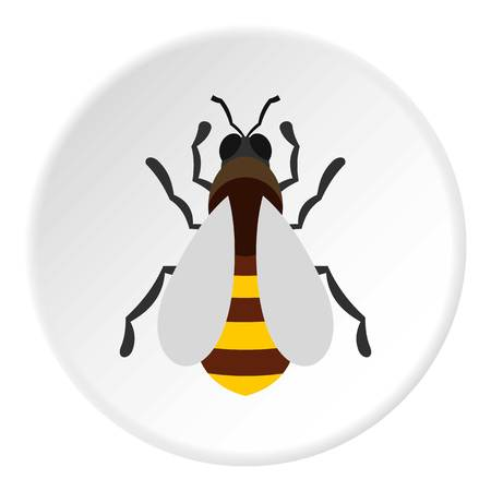 Bee icon in flat circle isolated vector illustration for web Illustration