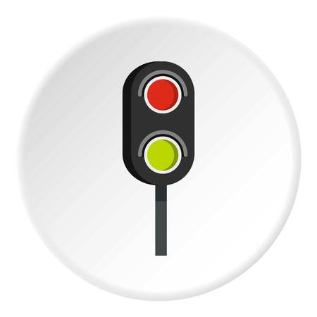 regulate: Semaphore trafficlight icon in flat circle isolated vector illustration for web Illustration