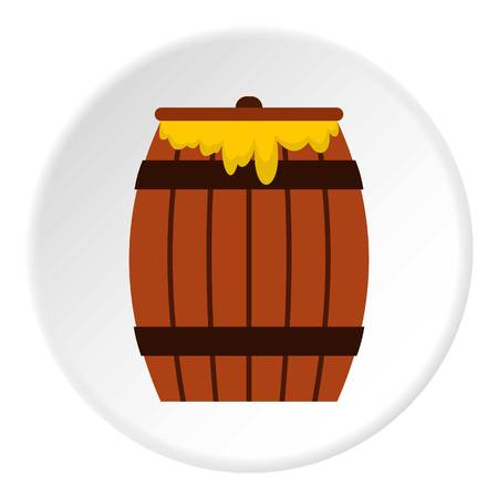 Honey keg icon in flat circle isolated vector illustration for web