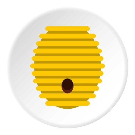 beeswax: Beehive icon in flat circle isolated vector illustration for web