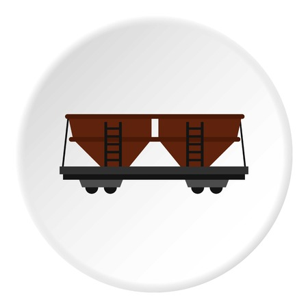 Freight railroad car icon in vlakke cirkel geïsoleerde vector illustratie voor web