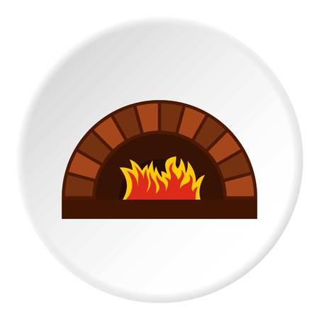 Brick pizza oven with fire icon in flat circle isolated vector illustration for web