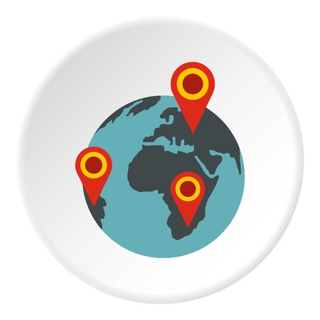 rounded circular: Globe earth with pointer marks icon in flat circle isolated vector illustration for web