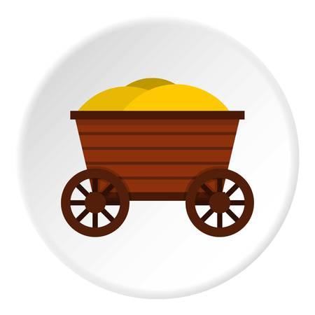 carretilla: Círculo de icono de carrito de madera vintage