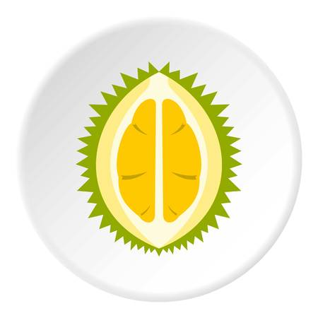Durian icon in flat circle isolated vector illustration for web